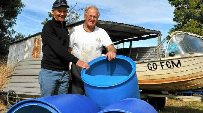 Warwick District Recreational Fish Stocking Association's Ed Kemp and Roger Martin are looking forward to having 52 cod holes and two fish hotels in the Condamine in a fortnight.