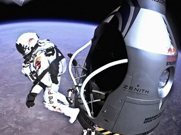 Pilot Felix Baumgartner of Austria jumps out from the capsule during the final manned flight for the Red Bull Stratos mission in Roswell, New Mexico, USA on October 14, 2012. A scene from the TV documentary Space Dive.