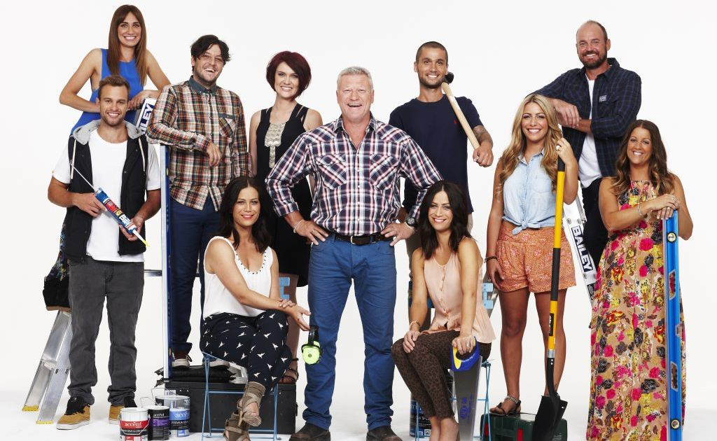 The Block Sky High (2013 series) contestants pictured with host Scott Cam, centre.