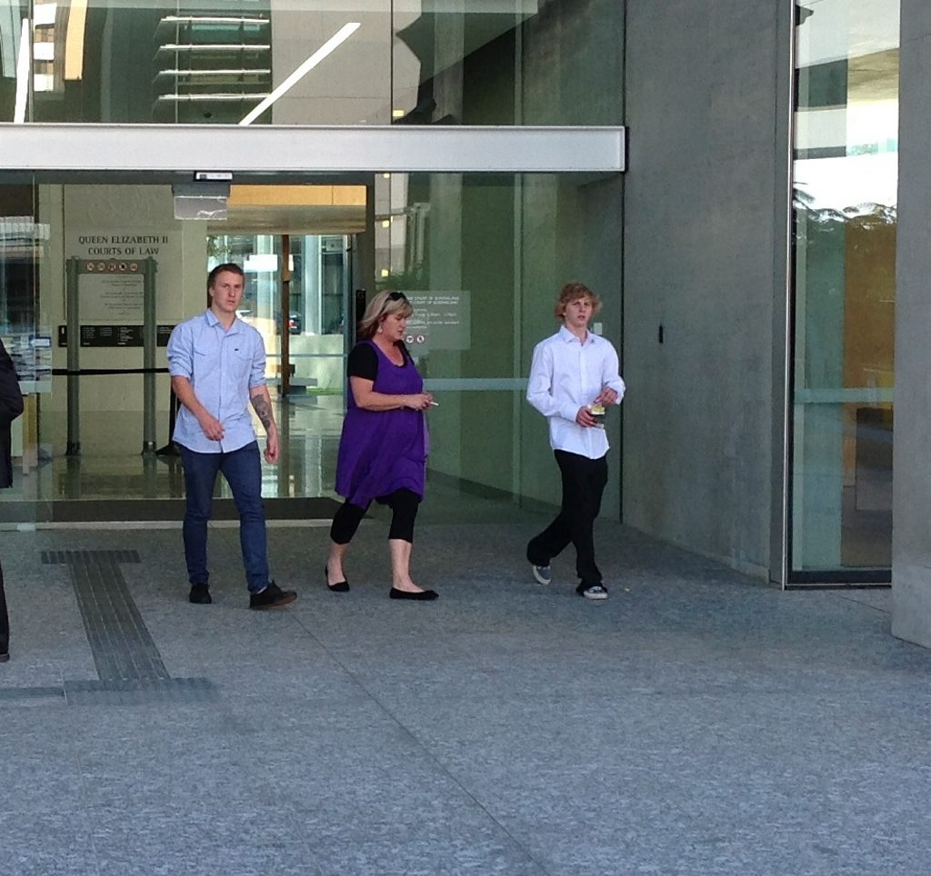 Alstonville's Jarrod Wyllie (left) and Jake Hiscock (right) leaving Brisbane Supreme Court. They had testified in a trial where their mate Sam Collins stands accused of manslaughter of his sister's boyfriend.