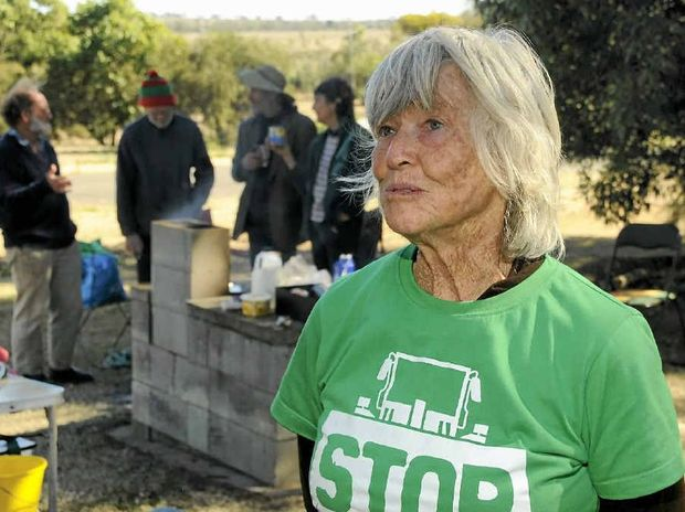 Brisbane resident June Norman with other protesters at Acland coal seam gas fields. Now she'll walk from Cairns to Gladstone to show her opposition to development on the Great Barrier Reef.