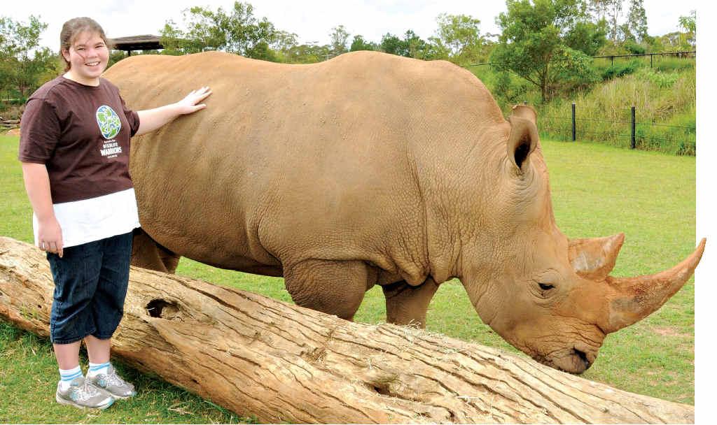 Animal lover Tegan Lather meets a rhinoceros at Australia Zoo.