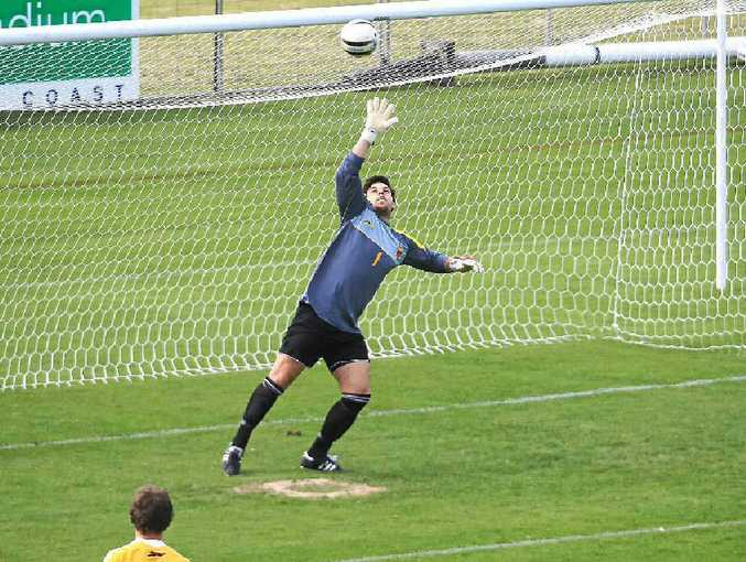 Caloundra goalkeeper Dale Hill will be in action against Maroochydore tomorrow.