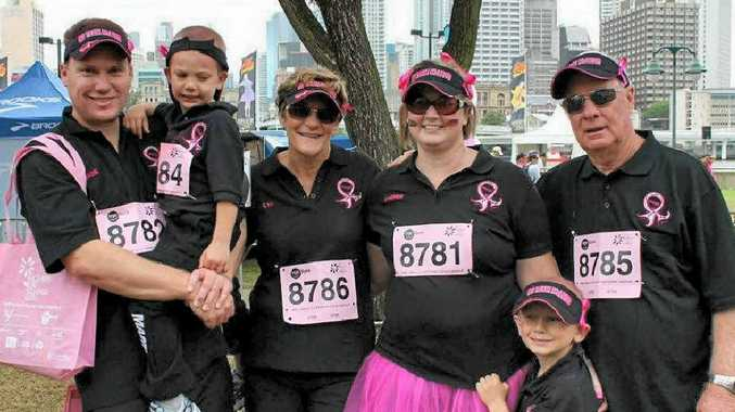 Wade McLeod, Riley McLeod, Lyn McLeod, Sheree McLeod, Lachlan McLeod and Bob McLeod take part in the Mother's Day Classic Walk in Brisbane.