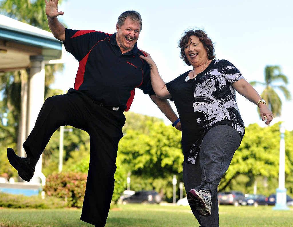 Daily Mercury staff Wayne Tomkins and Vicki Bugeja getting fit.