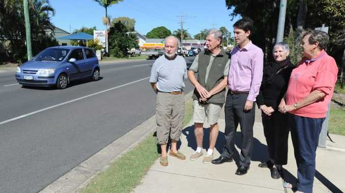 Dieter Piepenburg, David Clarkson, councillor George Seymour, Elizabeth Rore and Dianne Smith in Urangan's Elizabeth St which will soon have a new no-standing zone.