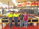 """We're getting there!"", Keith Robertson, Michael Stirrat, Trevor Schulz and Daniel Platts take a break from refurbishing the Northside Plaza IGA after January's flood. Sparkling new display cabinets and flooring are now mostly in place after what seems like a very long job."