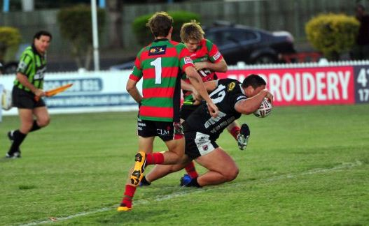 Jackson Van Mierlo scores a try for the Magpies in their victory over the Seagulls at Salter Oval on Saturday night.