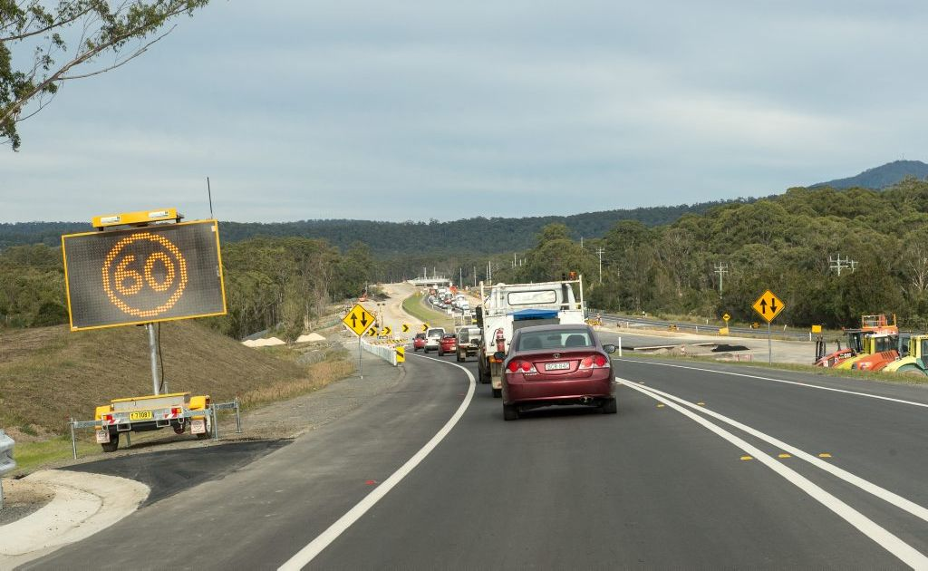 Sapphire to Woolgoolga Pacific Hwy upgrade saw traffic shift due to a major diversion from Graham Dr South to North Sapphire to allow work on the western side. Photo: Trevor Veale / The Coffs Coast Advocate