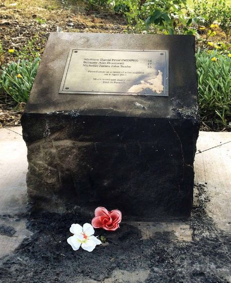 SENSELESS ACT: Vandals firebombed the memorial to three teenagers killed at Goodna.