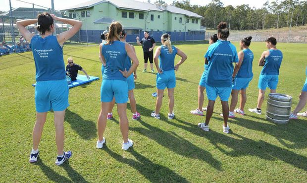 WEIGHT LOSS CHAMP: The Biggest Loser 2012 winner Margie Cummins ran a boot camp at the Brisbane Women's Correctional Centre in Wacol yesterday morning.