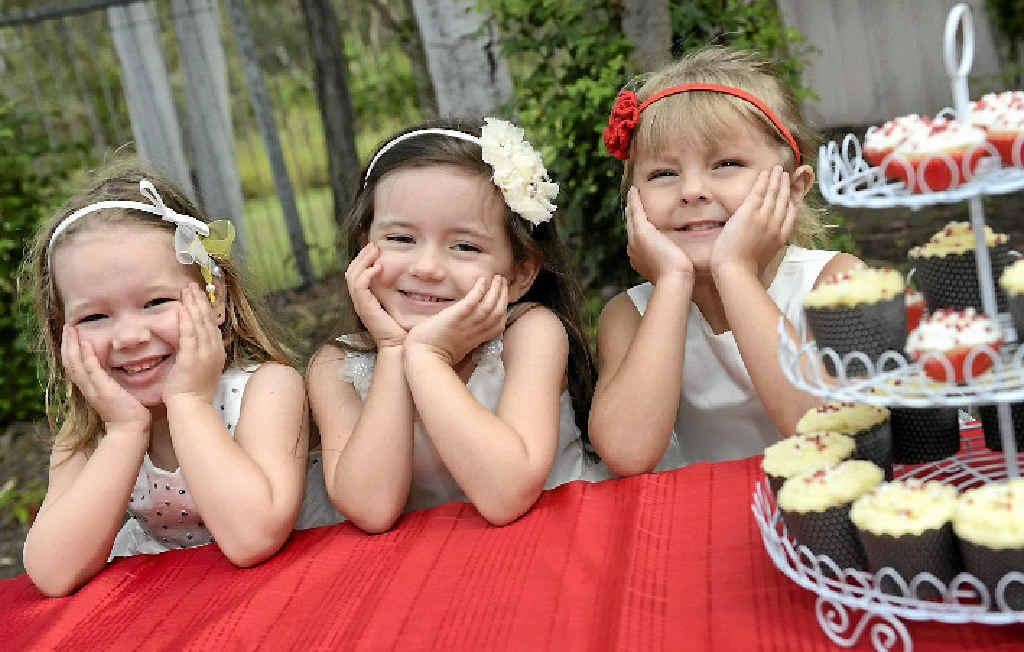 Kookaburra Creek Kindergarten students (from left) Elisa Petillon, 4, Lilly Ryton-Benson, 4, and Maddison Palmer, 4.