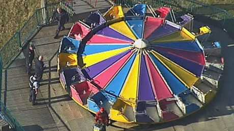 The frisbee ride at the centre of Highfields, Toowoomba's fall. Picture: Channel 9