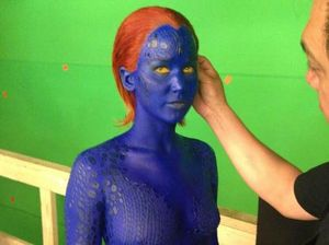 Jennifer Lawrence in body suit for X-Men sneak peak
