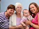 Four generations celebrate Mother's Day. Airlie Miles ,8 months, with mum Danielle Miles (right) grandmother Narelle Haden and great grandmother Daphne Chaplin. Photo: Warren Lynam / Sunshine Coast Daily