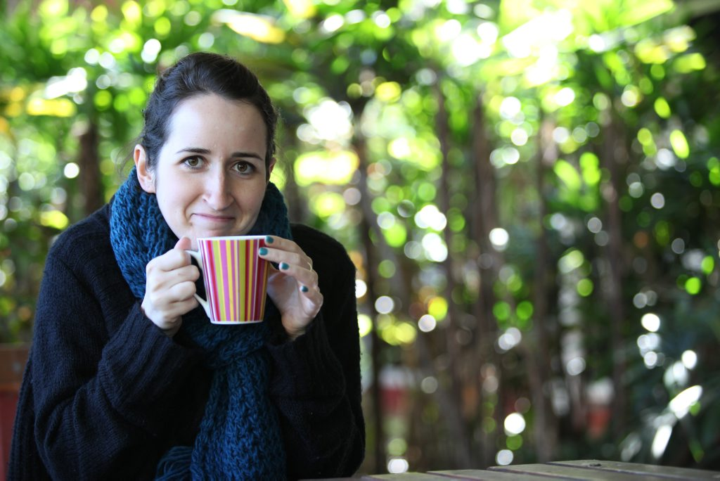 Jessica Moran enjoying a hot cup of coffee on a cold morning. Photo Darryn Smith / Sunshine Coast Daily