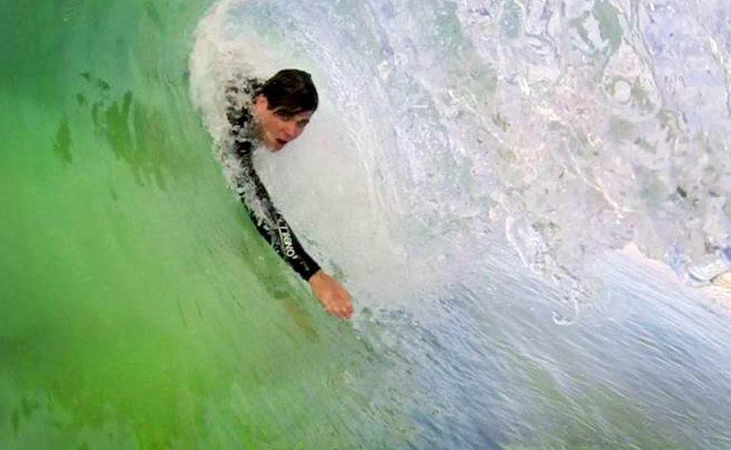 Duncan Wright gets a body surf tube as Nolan Full pulls the trigger. Photo: Nolan Full