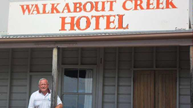 Traveller Alan Betteridge outside the Walkabout Creek Hotel which was made internationally famous when it was used in the Crocodile Dundee movies.