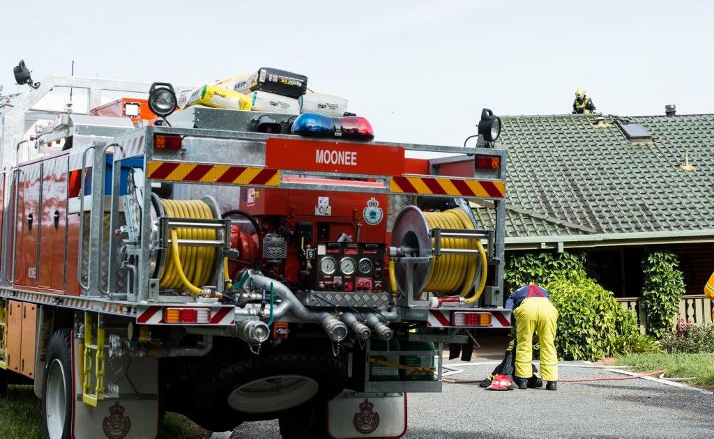 Emergency services reacted quickly to a chimney fire at house on Bucca Rd. Photo: Trevor Veale / The Coffs Coast Advocate