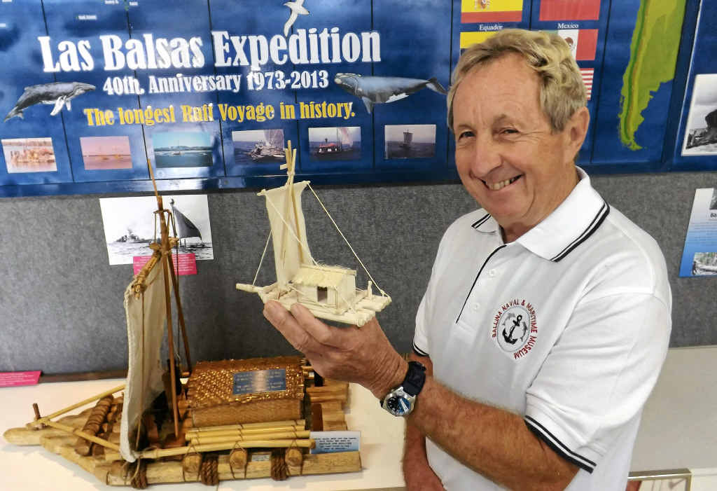 REMEMBERING LAS BALSAS: Assistant curator of the Ballina Naval and Maritime Museum Tom Roach at his display which documents the Las Balsas journey.