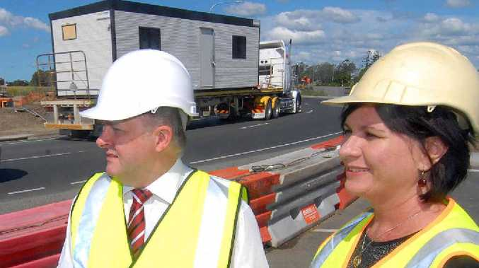 Infrastructure and Transport Minister Anthony Albanese and Labor candidate for Dawson Bronwyn Taha discussed Mackay's ring road.