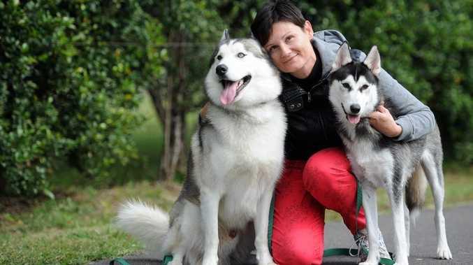 Benita Walker keeps warm by cuddling siberian huskies Kovu and Koda.