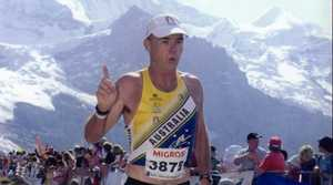 Hervey Bay's Vince Hopgood crossing the finish line during his last event in Europe, the 2006 Jung Frau Marathon in Switzerland.