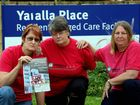 Members of the Yaralla Place branch of the Queensland Nurses Union Nina Algie, Karen Silvester and Wendy Tong protest the privatisation of Yaralla Place.