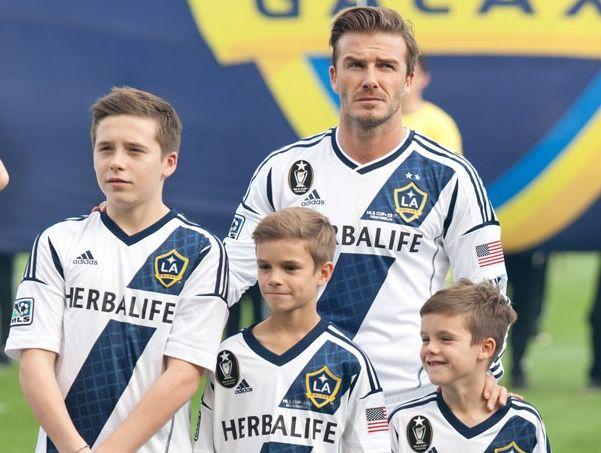 David Beckham with Brooklyn, Romeo and Cruz.