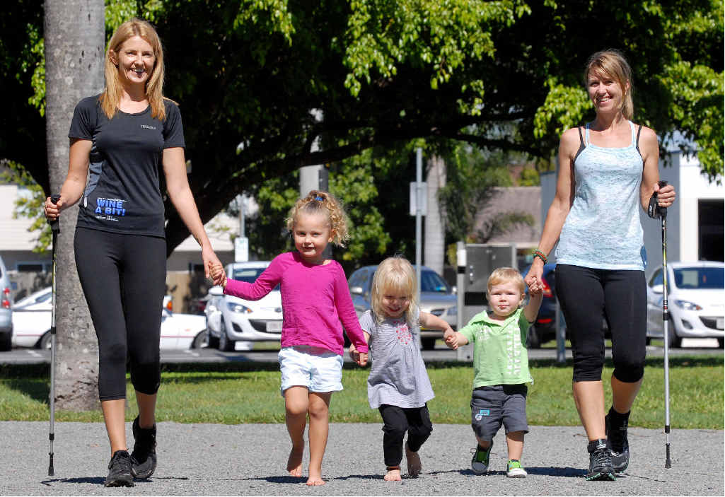 Kelly Sutherland, with her daughter Milla, and Ruby, Leroy and Kate Gardner. Ms Gardner and Ms Sutherland are training for a 100km hike for Oxfam.