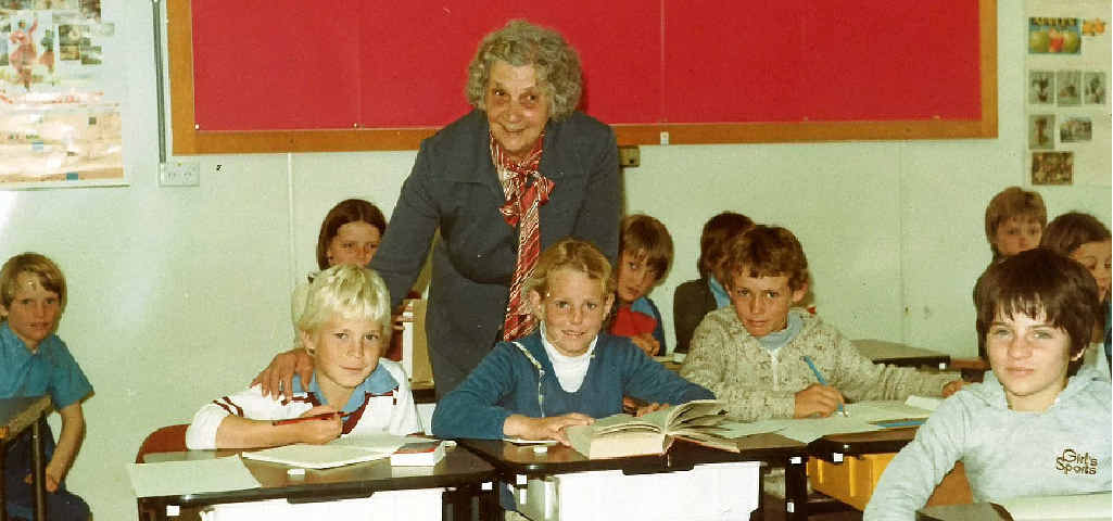 Enid Armstong during her last day in the classroom on September 21, 1982.