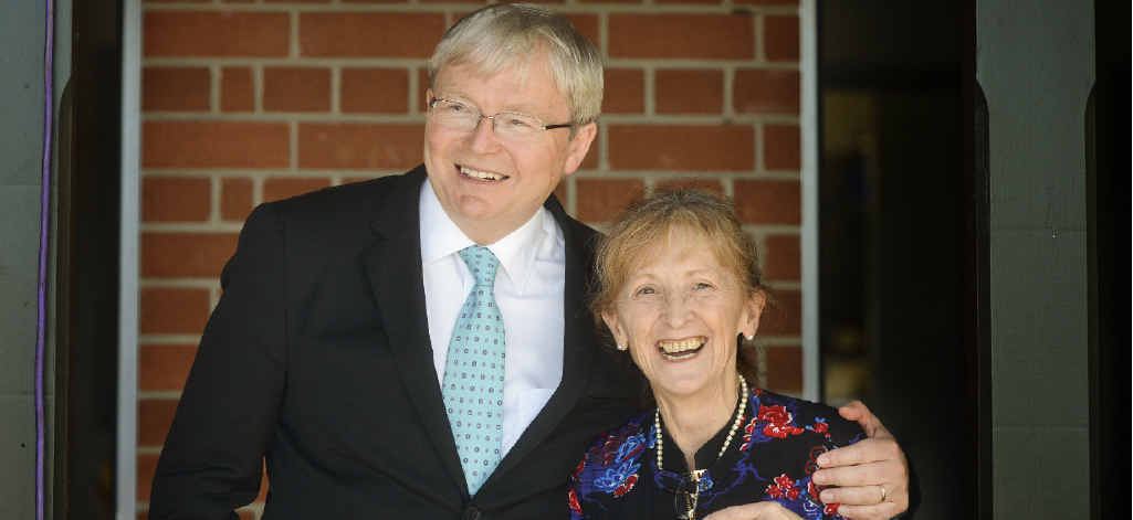 MESSAGE OF SUPPORT: Kevin Rudd has a laugh with Member for Page Janelle Saffin at a lunch function in Grafton.
