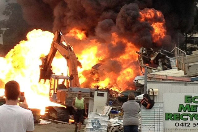 Scenes from a large fire at a Kempsey Recyclers this week.