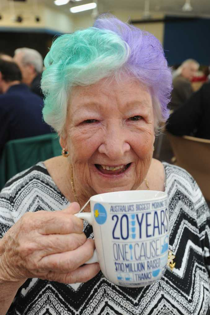 Celebrating the 10th Biggest Morning Tea at Golden Shores Lifestyle Village is Kathleen Harding who not only had a cuppa but also her hair coloured for the cause.