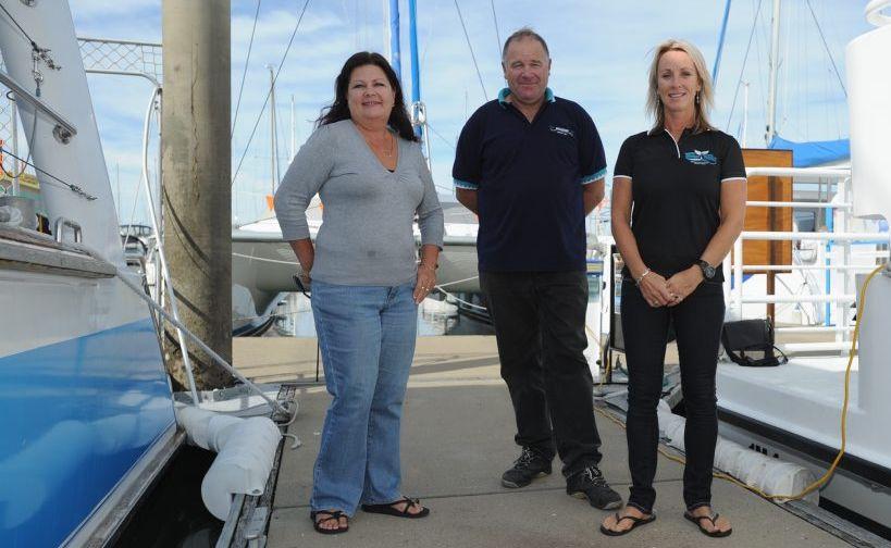 Hervey Bay whale watching identities Jill Perry, Jason Brigden and Vicki Neville.