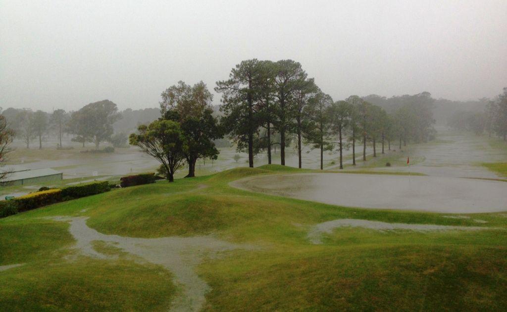 No play possible at Coffs Harbour Golf Club as heavy rain turns the course into a giant water hazard. Photo: Matt Allan/Coffs Harbour Golf Club