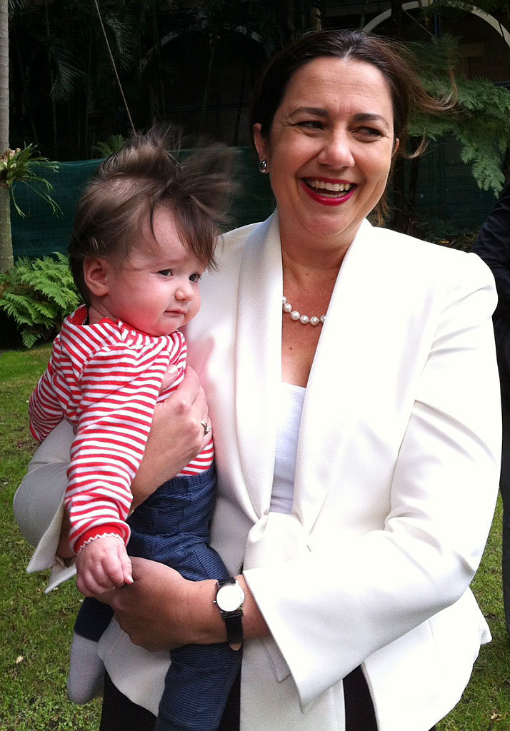 Opposition Leader Annastacia Palaszczuk with her 6mo niece Evelyn Rose.
