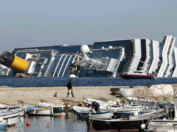 A view of the stricken Costa Concordia as crews attempt to raise the sunken ship.