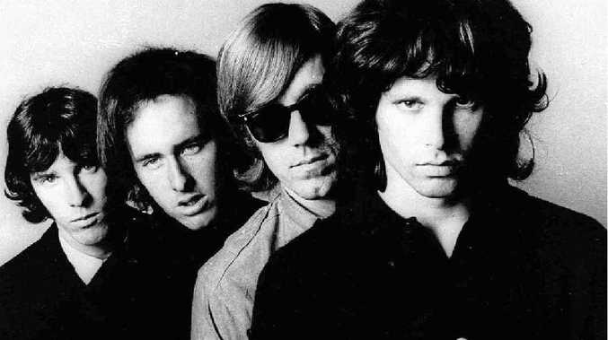 Ray Manzarek, second from right, flanked by his fellow band members Jim Morrison, far right, John Densmore, far left, and Robbie Kreiger.