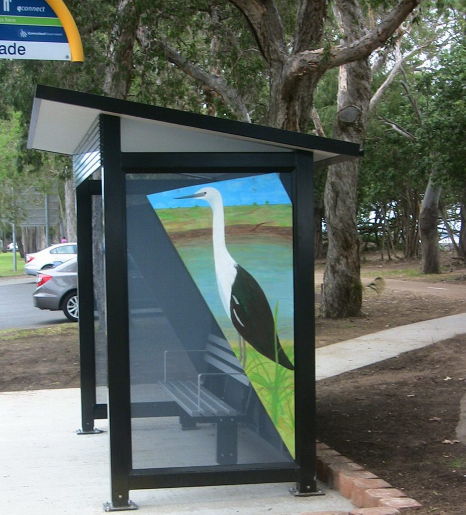 Artist Alan Peebles took it upon himself to attach his artwork to some of the new bus shelters.