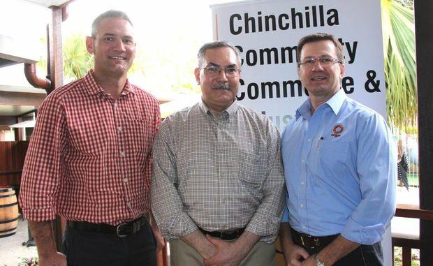 SHARING STRATEGIES: CCCI president Jason Johnston, Mr Robert Jensen and Origin regional manager Rob Hart.