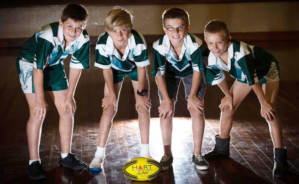 RISING STARS: Rugby league players Brock Parker, Reagan Scheuermann, Reeyce Sadler and Xander Pilon and (inset) football star Jana Rothacker.
