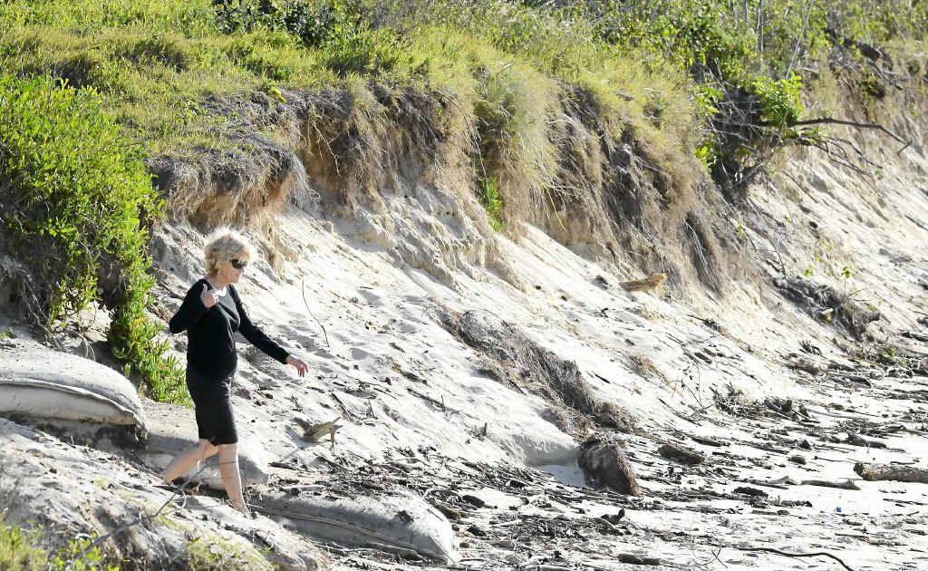 GOING, GOING: Yamba beach erosion at Whiting Beach on Saturday.