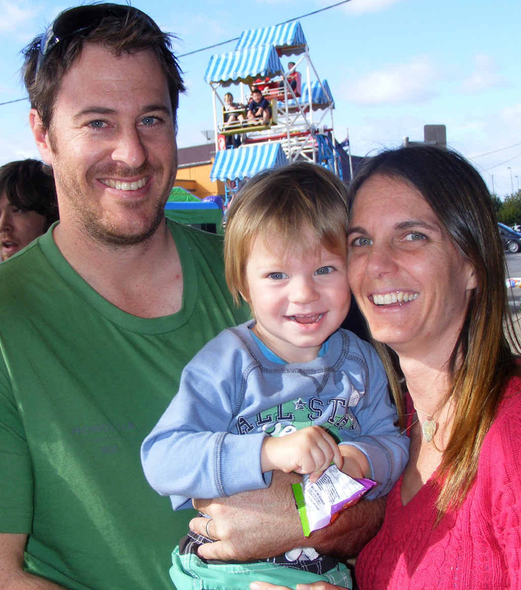 HAPPY FAMILY: Casino locals Ben and Kate Mayo with son Clay, 2.