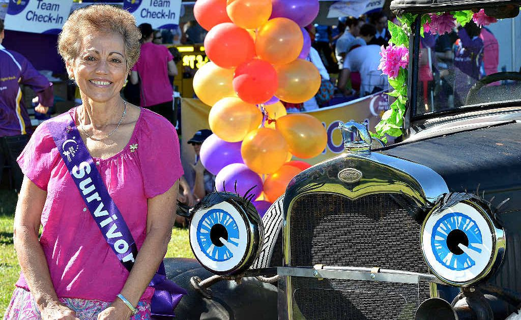 Mary Shepherd was touched by the turnout at Mackay's Relay For Life at the weekend. She rode in the Survivors Walk with her brother, Tony Sant, who was driving an 83-year-old Model T Ford.