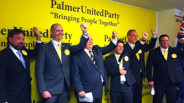 Clive Palmer (middle) among Senate candidates from his Palmer United Party (PUP).