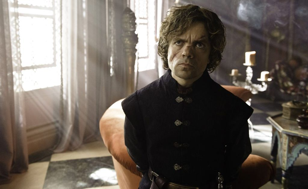 Peter Dinklage as the character Tyrion Lannister in a scene from the third season of TV series Game of Thrones.