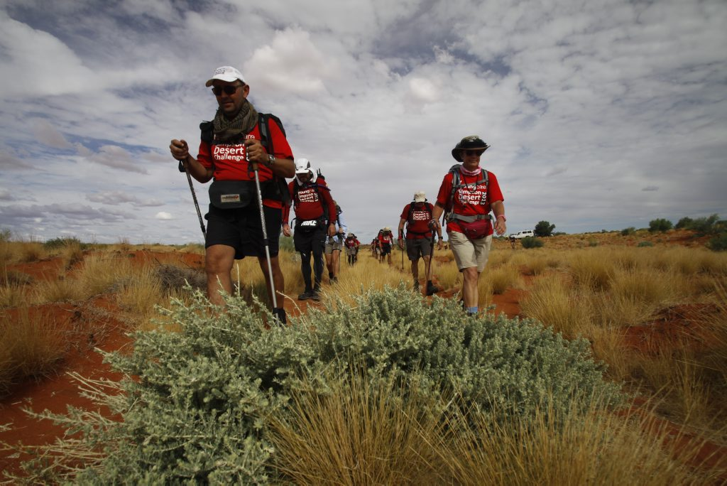 Firefighter Greg Stewart was one of 15 people who trekked 300km through the Simpson Desert.