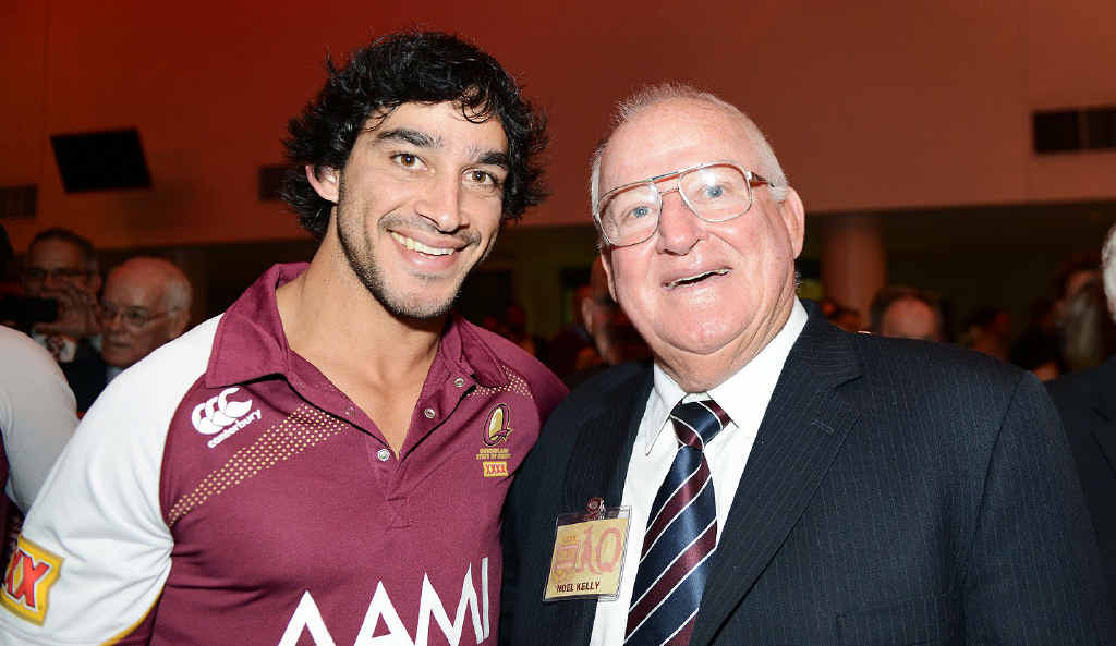 MY GENERATION: Johnathan Thurston and Noel Kelly enjoy themselves at the Maroons' 2013 State of Origin launch on Monday night.