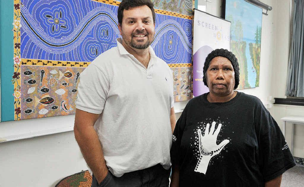 WORKSHOP: At the launch of Aboriginals/Torres Straight Islander screen writers workshop that will take place in Lismore were (from left) Jon Bell, screenwriter and Aunty Ann Roberts, Widjabul elder.